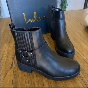 Lulus Rachel black moto chunky ankle boot booties